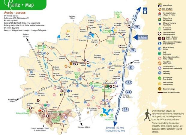 La carte touristique tourisme haut limousin - Office de tourisme haute vienne ...